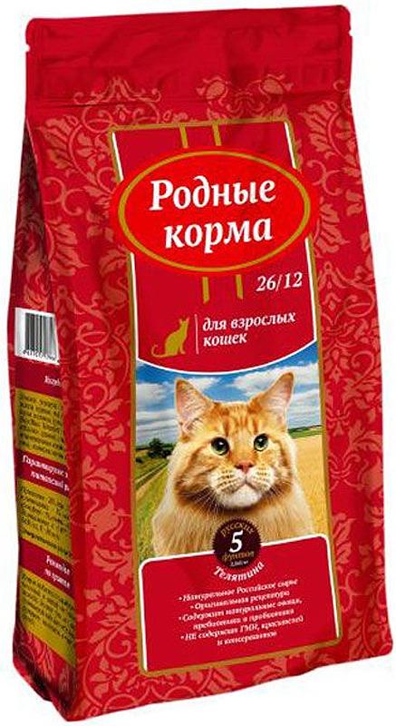 """Корм сухой """"Родные Корма"""", для взрослых кошек, телятина, 2,045 кг"""