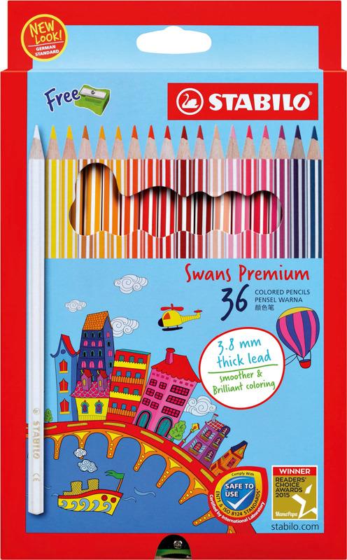 Набор цветных карандашей Stabilo Swans Premium Editional + точилка, 1868B, 36 цветов