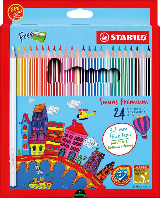Набор цветных карандашей Stabilo Swans Premium Editional + точилка, 1869B, 24 цвета