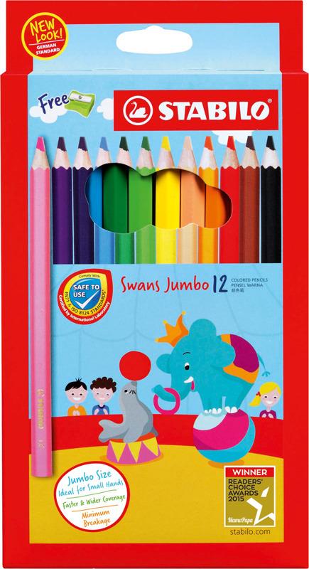 Набор цветных карандашей Stabilo Swans Jumbo + точилка, 1877J, 12 цветов