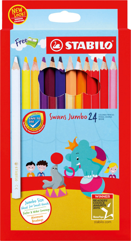 Набор цветных карандашей Stabilo Swans Jumbo + точилка, 1879J, 24 цвета