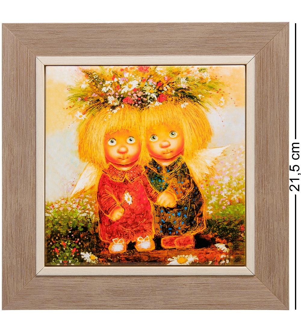 Панно Artangels ANG-414 Ангелы исполняющие мечты керамическое, 502128, оранжевый, 15х15 см