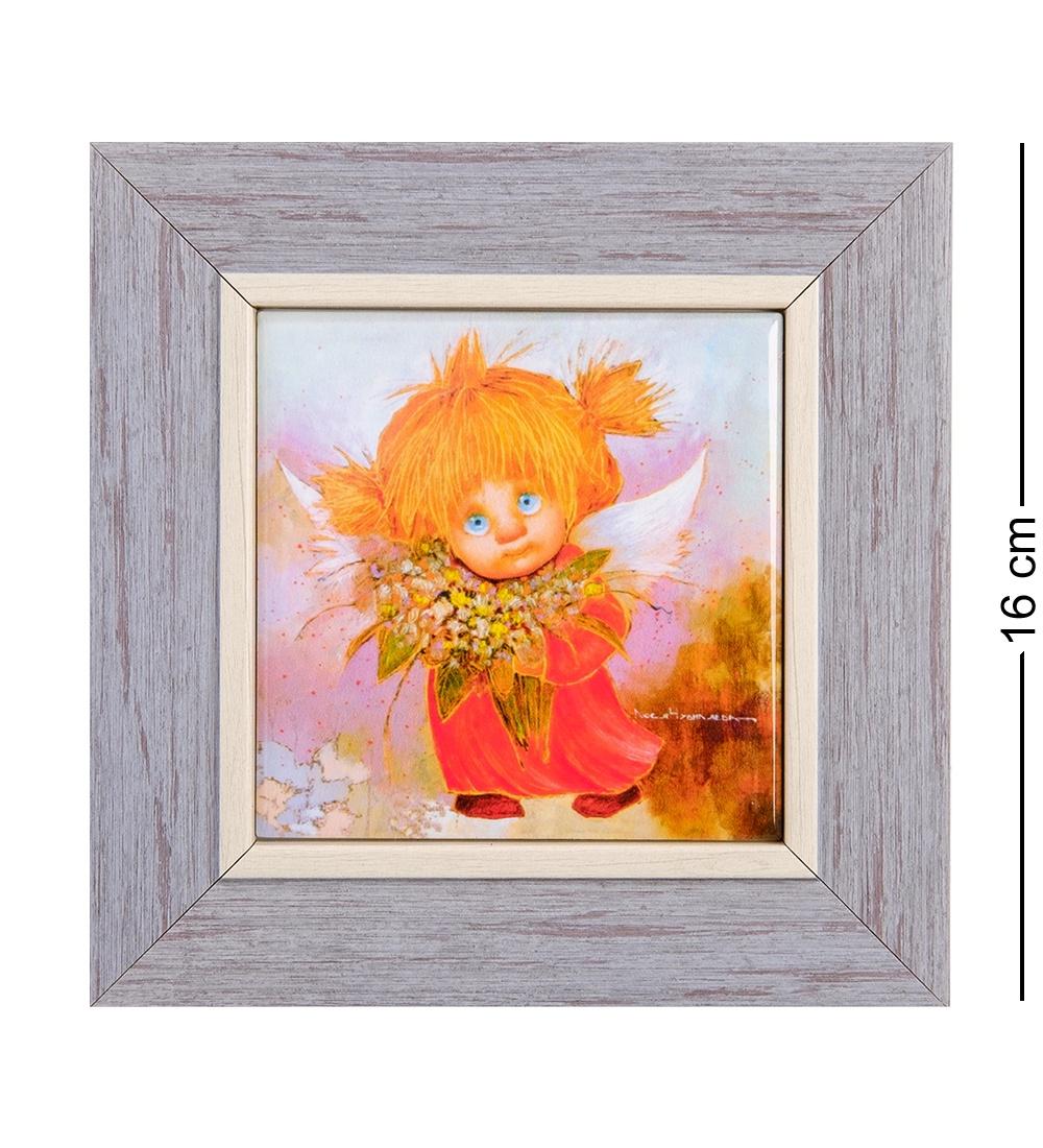 Панно Artangels ANG-449 Ангел хорошего настроения керамическое, 502412, оранжевый, 10х10 см