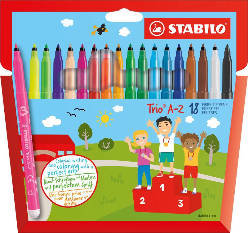 Набор фломастеров Stabilo Trio A-Z, 378/1-18-01, 18 цветов фломастеры stabilo trio 2 in 1 10 цветов