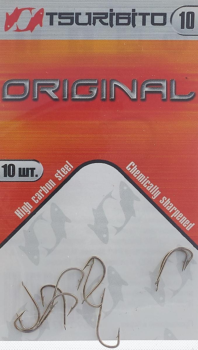 Крючки рыболовные Tsuribito Original №10, 10 шт крючки рыболовные cobra feeder master цвет черный размер 10 10 шт