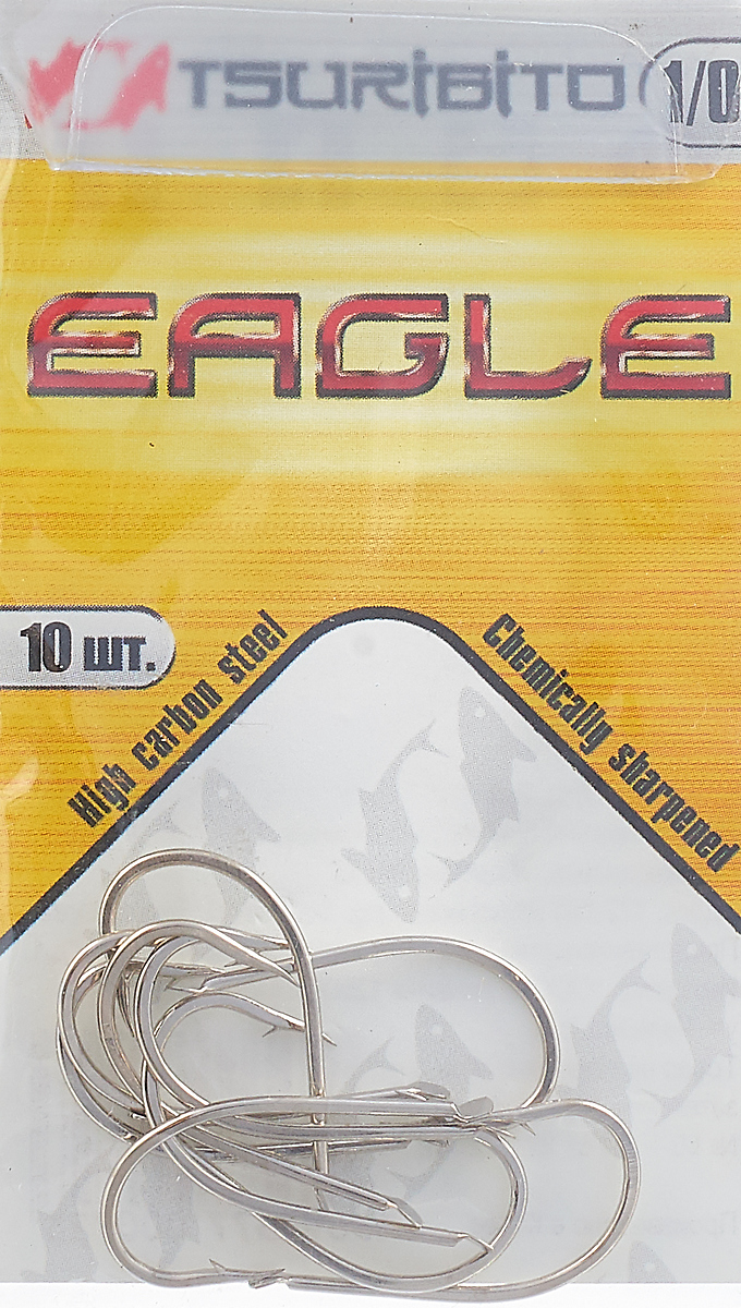 Крючки рыболовные Tsuribito Eagle №1/0, 10 шт крючки рыболовные lucky john predator ljh520 размер 4 7 шт