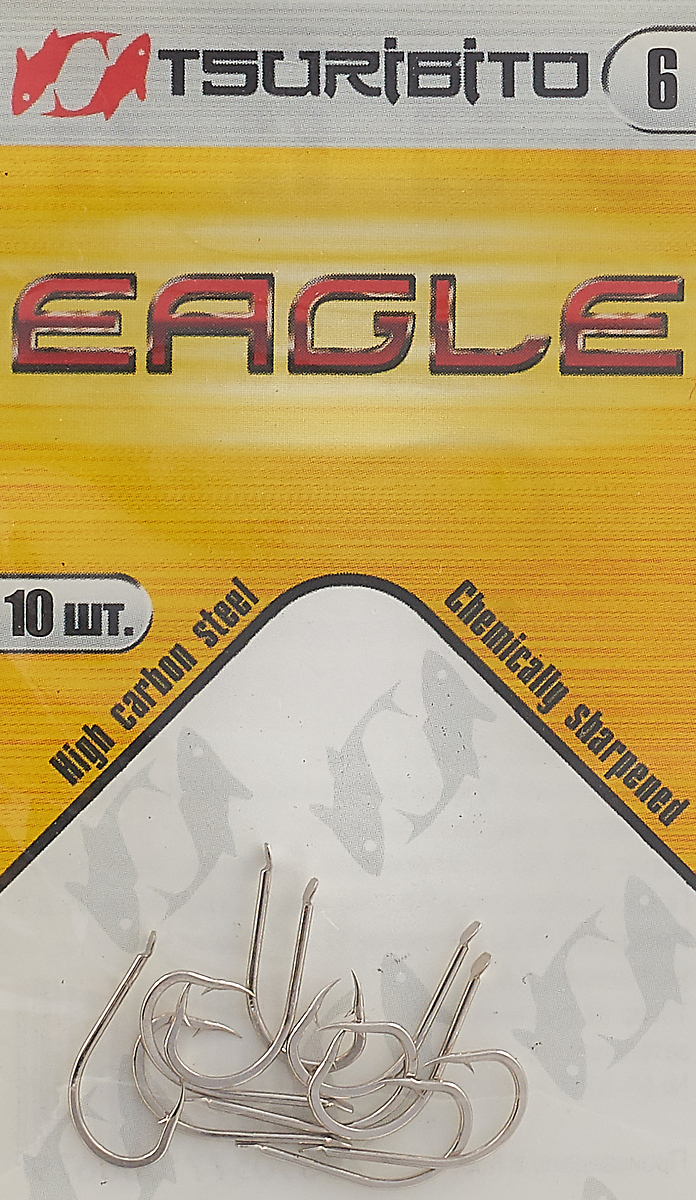 Крючки рыболовные Tsuribito Eagle №6, 10 шт крючки рыболовные lucky john predator ljh520 размер 4 7 шт