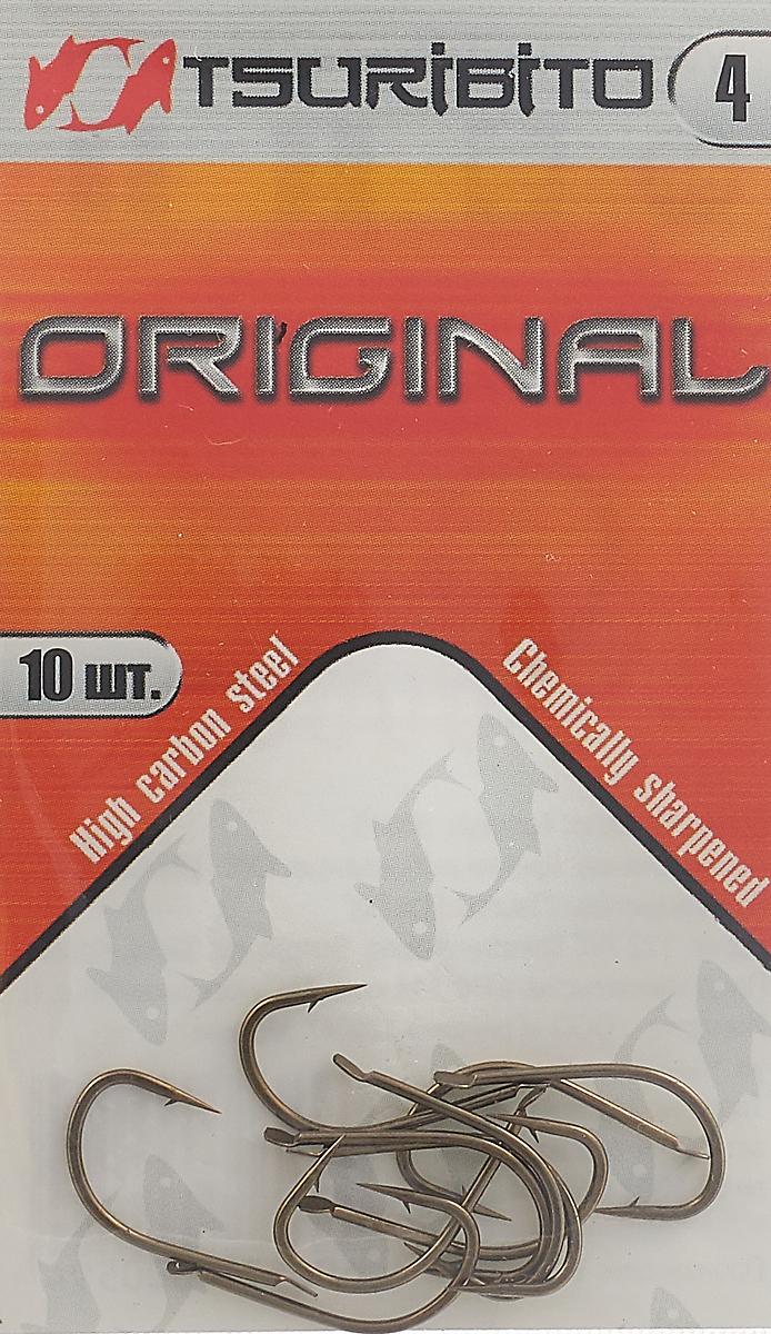 Крючки рыболовные Tsuribito Original №4, 10 шт. 34645