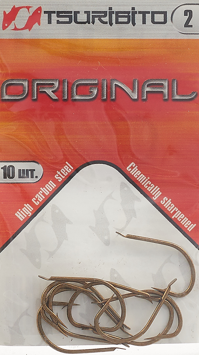 Крючки рыболовные Tsuribito Original №2, 10 шт. 34646