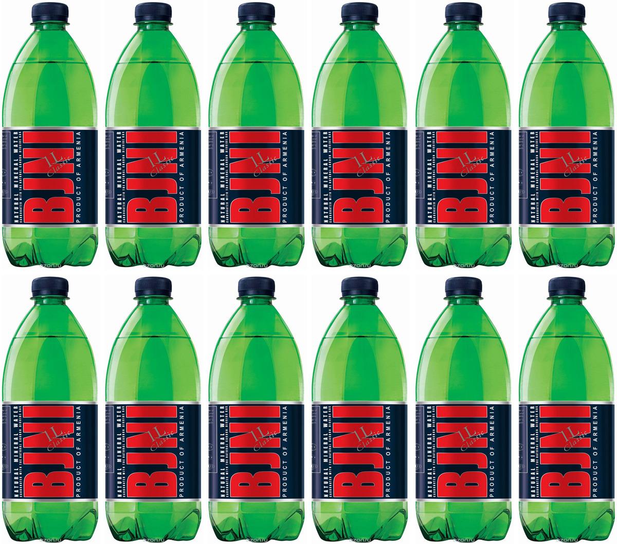 Вода минеральная газированная Бжни, 12 шт по 1 л