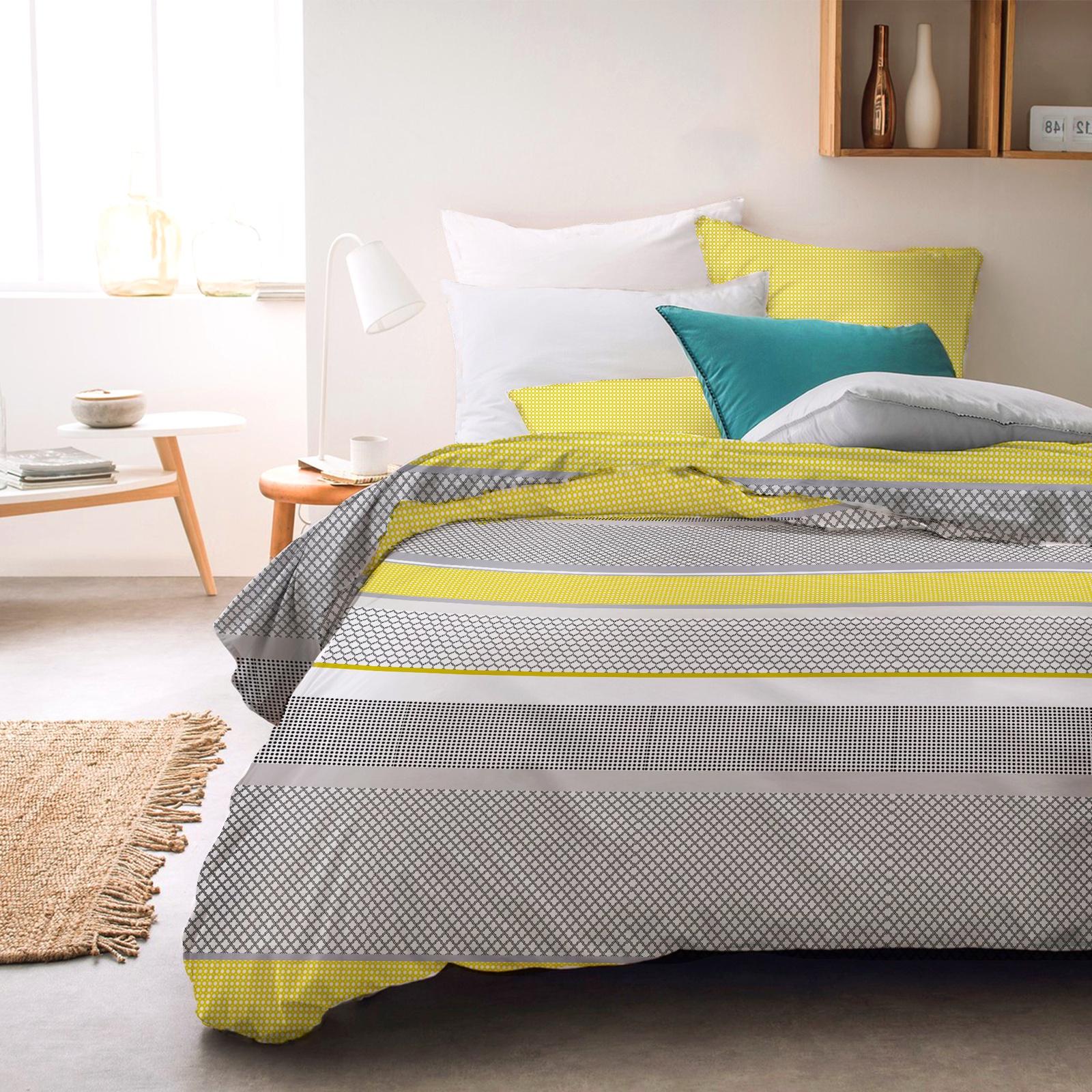 цена на Комплект постельного белья Seta Azalea Satin Chiaro, 019111282, серый, желтый, 1.5 спальный