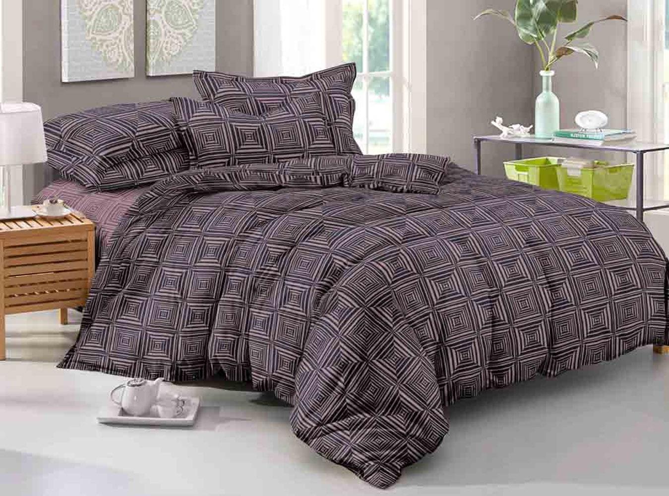 цена Комплект постельного белья Seta Grande Charvi 019811212, темно-коричневый, 1,5 спальный, наволочки 70 x 70 см онлайн в 2017 году