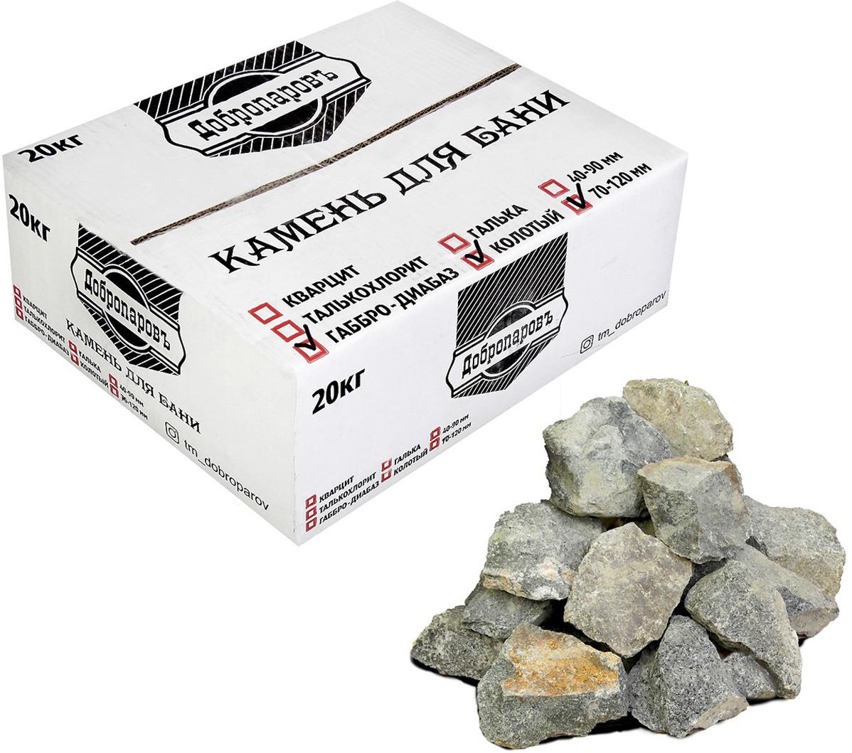 Камень для бани Добропаровъ Габбро-диабаз колотый, 3294482, 20 кг, фракция 70-120 мм печь для бани 8 мм