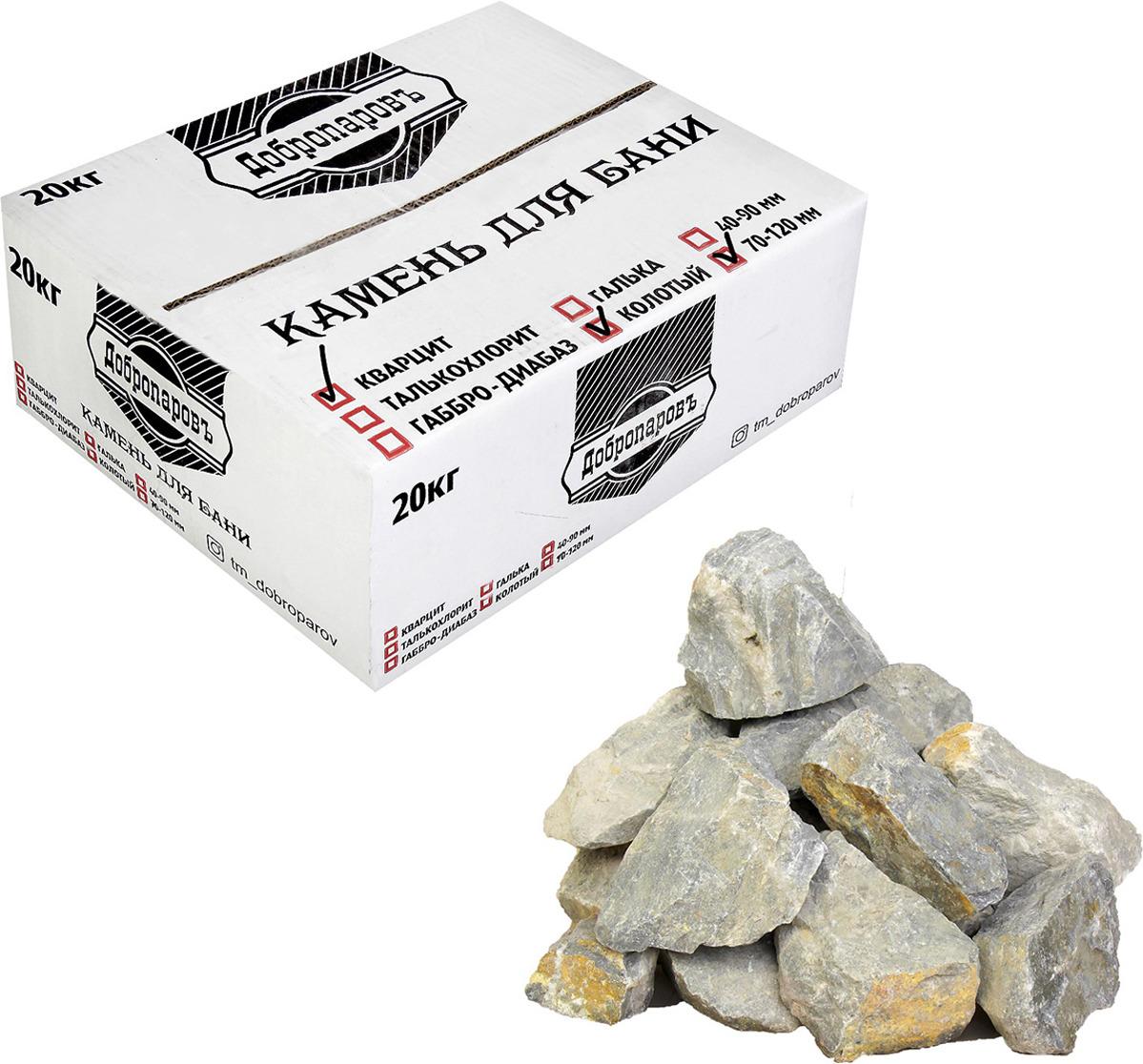 Камень для бани Добропаровъ Кварцит колотый, 3294483, 20 кг, фракция 70-120 мм печь для бани 8 мм