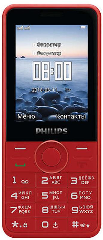 Мобильный телефон Philips E168 Xenium, красный телефон dect gigaset l410 устройство громкой связи
