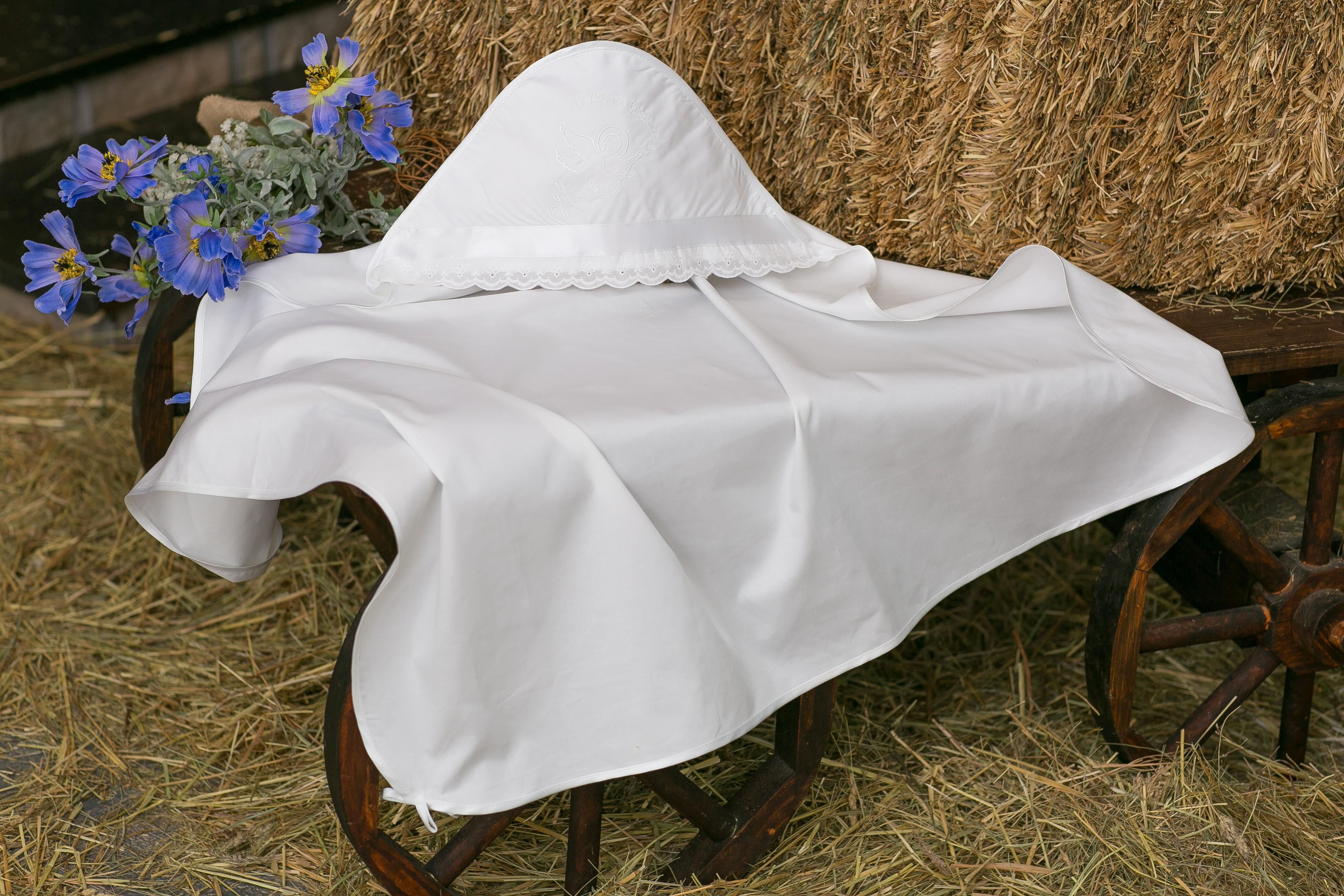Крестильная пеленка Alivia Kids, 1281510900, белый, 90 х 90 см крестильная одежда alivia kids крестильное полотенце с крестом 130х70 12 701