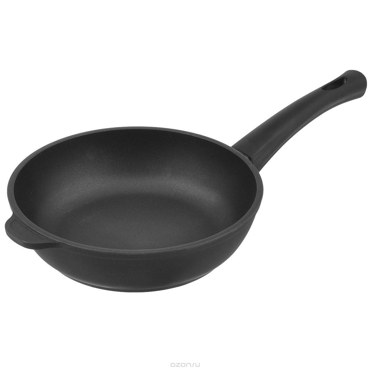 Сковорода Нева Металл Посуда литая, комфортная, 7224к, черный, 24 см сковорода нева металл 9120 20 см алюминий