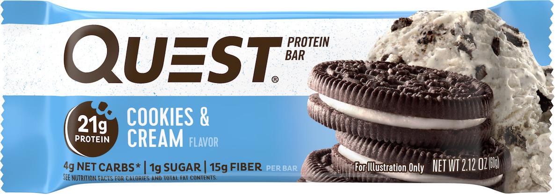 Батончик протеиновый Quest Nutrition QuestBar, печенье и сливки, 60 гQUEST-QB1P-COCRQuestBar – батончик, по праву заслуживший звание протеиновый батончик №1 в мире. В чем секрет успеха? QuestBar – отличная замена тортов, пирожных и прочих сладостей. Он вкуснее и, в отличие от тортов, полезен для вашей фигуры и вашего здоровья. 20 г протеина исключительно из самых дорогих и самых качественных источников: изолята сывороточного и изолята молочного белка. Всего 5 граммов активных углеводов: в батончиках Quest используется совершенно новый современный инновационный ингредиент – растворимые пищевые волокна кукурузы. Он благотворно влияет на метаболизм и пищеварение, не дает организму ненужные углеводы и калории. Не вызывает резкого роста уровней сахара и инсулина при усвоении. В процессе перемещения по желудочно-кишечному тракту растворимые пищевые волокна под воздействием бактерий превращаются в короткоцепочечные жирные кислоты и усваиваются в толстом кишечнике. Таким образом вы не получаете бесполезные активные углеводы. Контролируйте углеводы для достижения вашей цели! Quest – первые батончики, которые вы можете есть, не испытывая угрызений совести. QuestBar – это оптимальное количество жиров из естественных источников. Никаких транс-жиров! Практически полное отсутствие насыщенных жиров. Только то, что необходимо для здоровья! В состав QuestBar входят настоящие фрукты, ягоды и орехи (источник чистых полезных жирных кислот)! Таким образом те 1-2 грамма простых углеводов (Sugars), которые присутствуют в QuestBar, – именно из этих натуральных источнико... Рекомендуем!