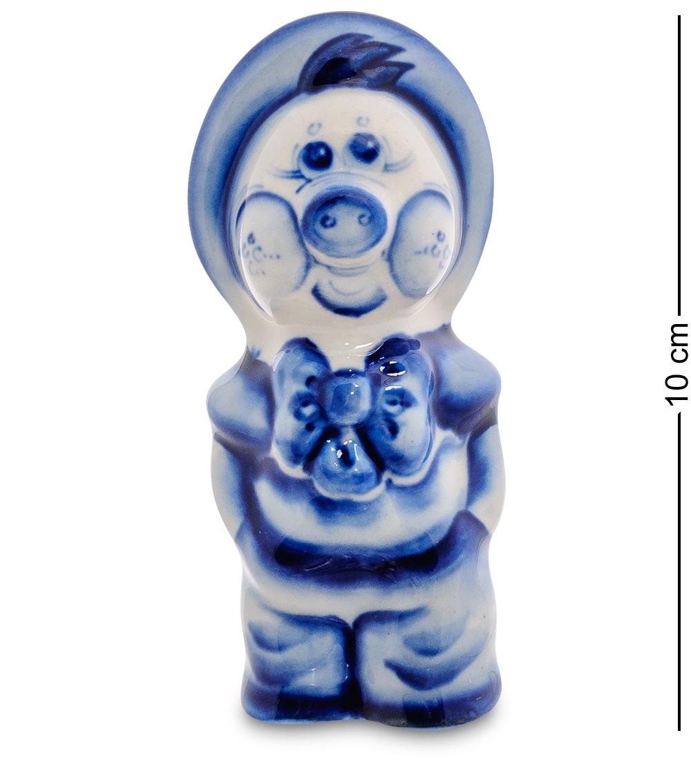 Фигурка Гжельский фарфор ''Поросенок-Фунтик'' 706182, бело-синий фигурка гжельский фарфор поросенок фунтик 706247