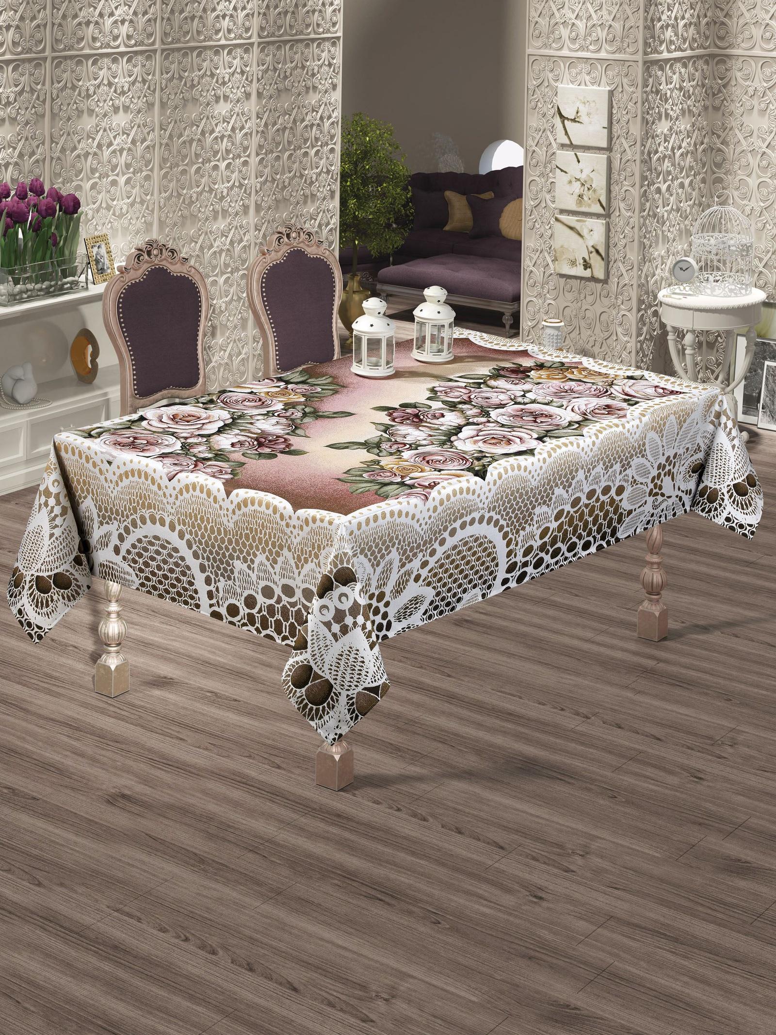 Скатерть Do&Co Maldiv Lux, 10110, розовый, коричневый, 160 х 220 см