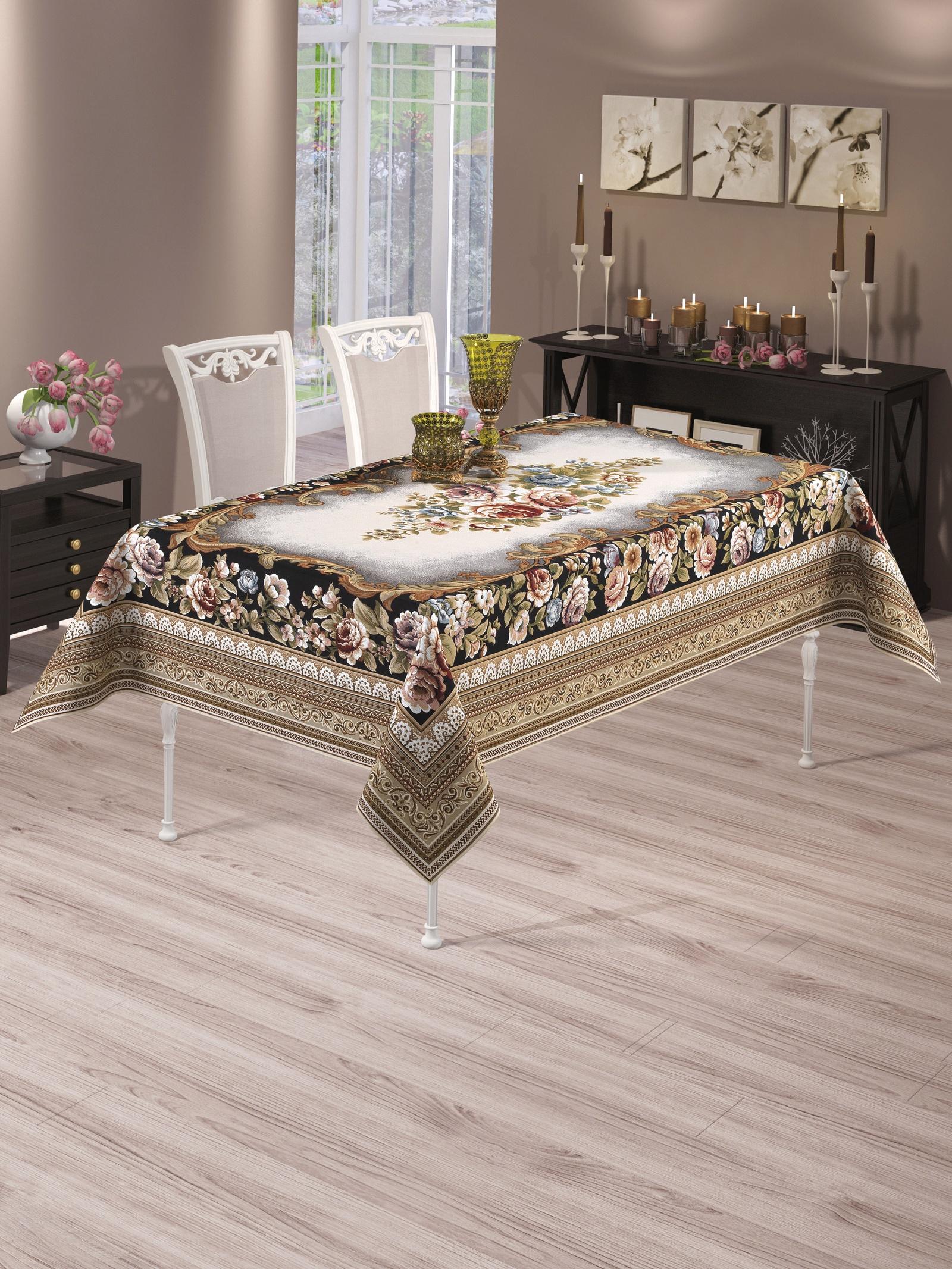Скатерть Do&Co Buket Lux, 8629, коричневый, 160 х 220 см