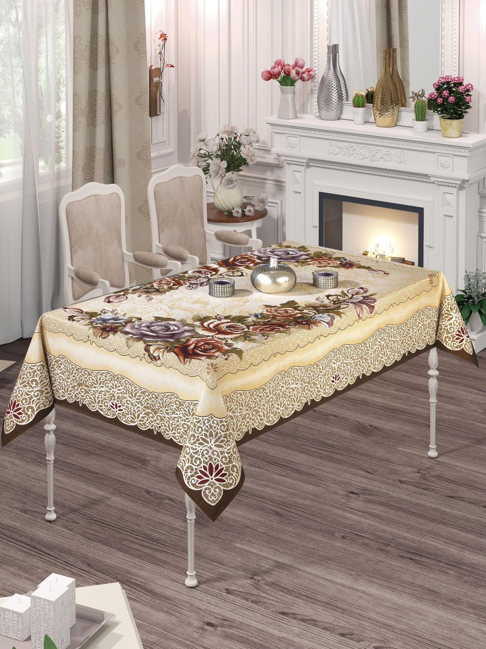 Скатерть DO&CO Rozelina Lux, 9235, бежевый, светло-коричневый, 160 х 220 см