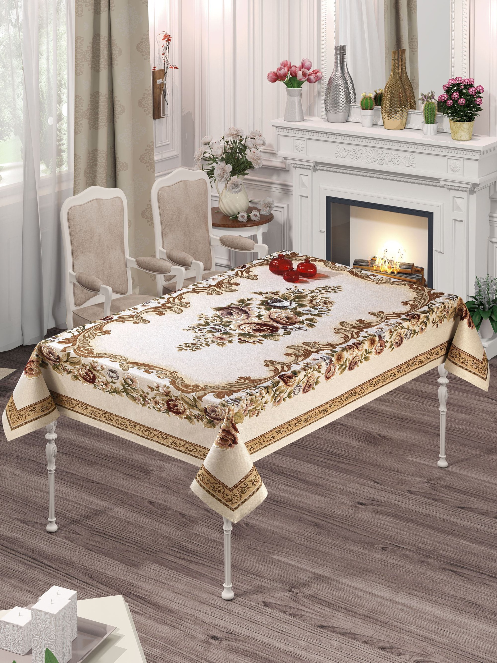 Скатерть DO&CO Kasimpati Lux, 9236, бежевый, светло-коричневый, 160 х 220 см