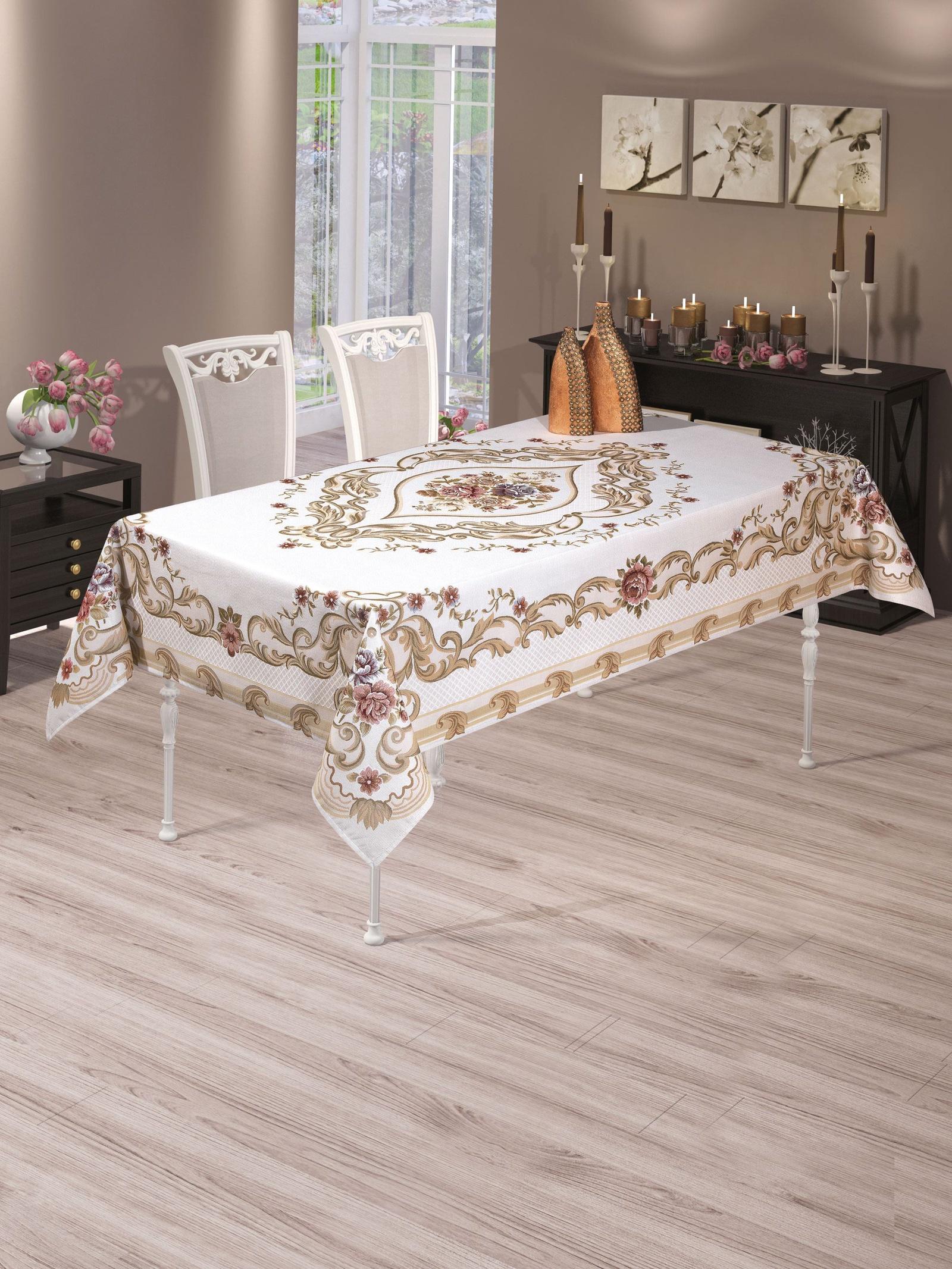 Скатерть DO&CO Domino Lux, 9361, светло-бежевый, 160 х 220 см