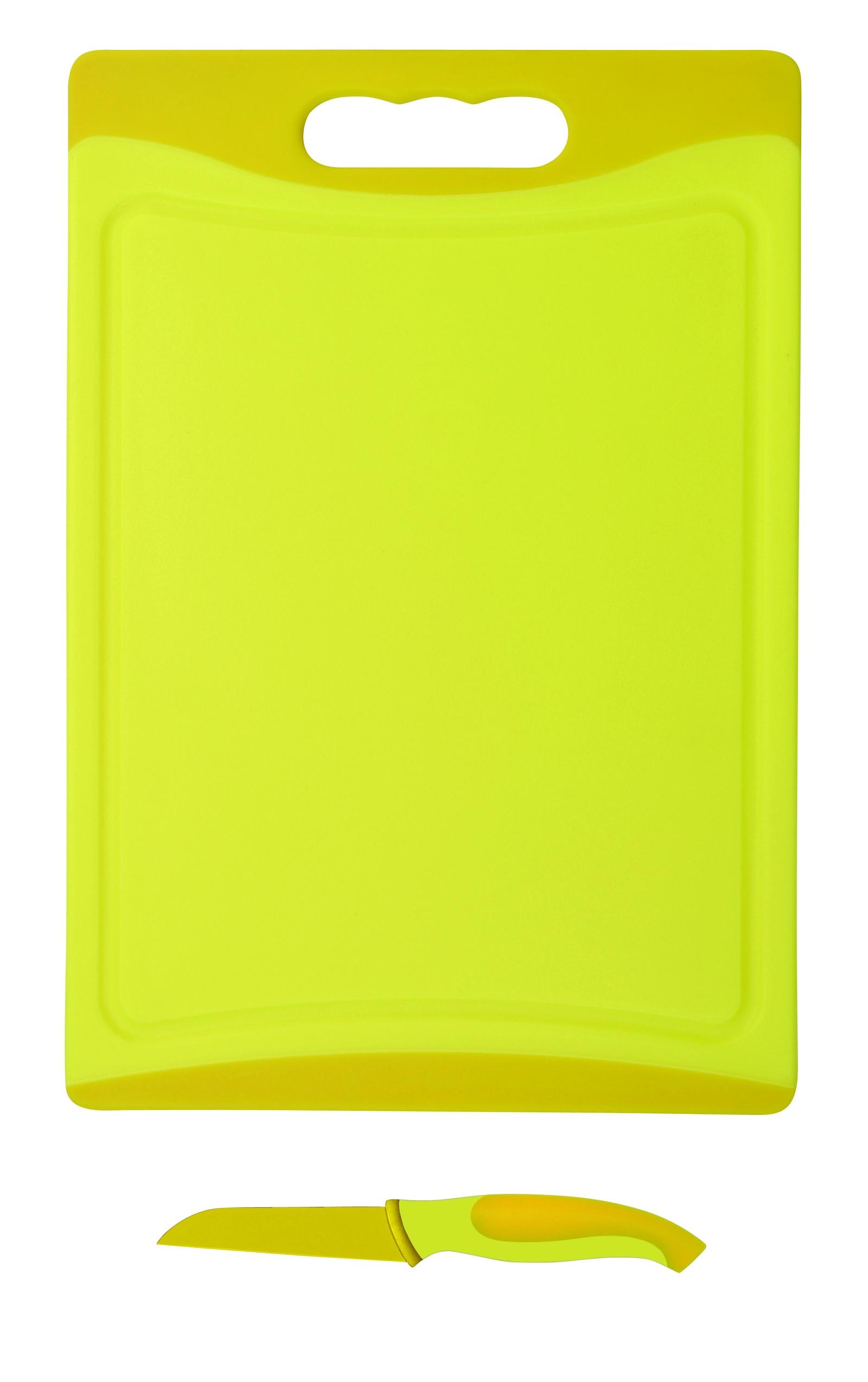 Набор ножей Bohmann BH-5212, 2 шт, 9см + доска разделочная, желтый разделочная доска домашний сундук гибкая цвет красный синий 2 шт