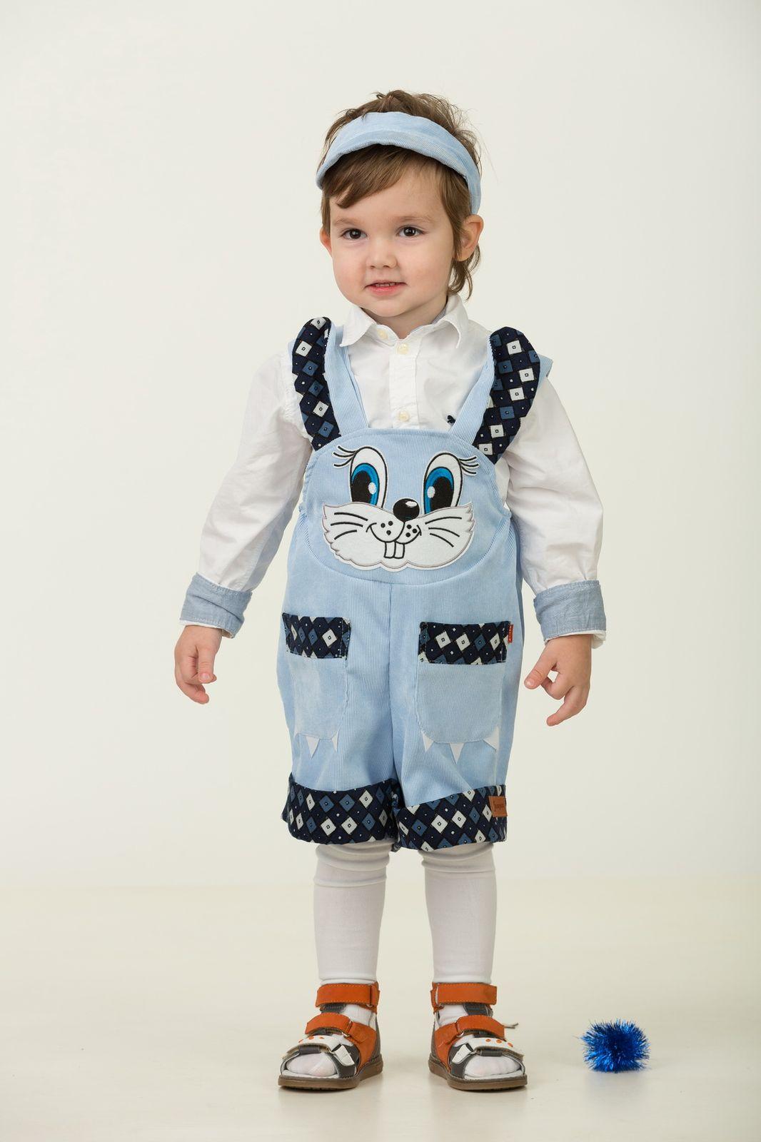 Карнавальный костюм Jeanees Зайчонок Хвастунишка, цвет: голубой. Размер: 30 blk dnm короткое платье