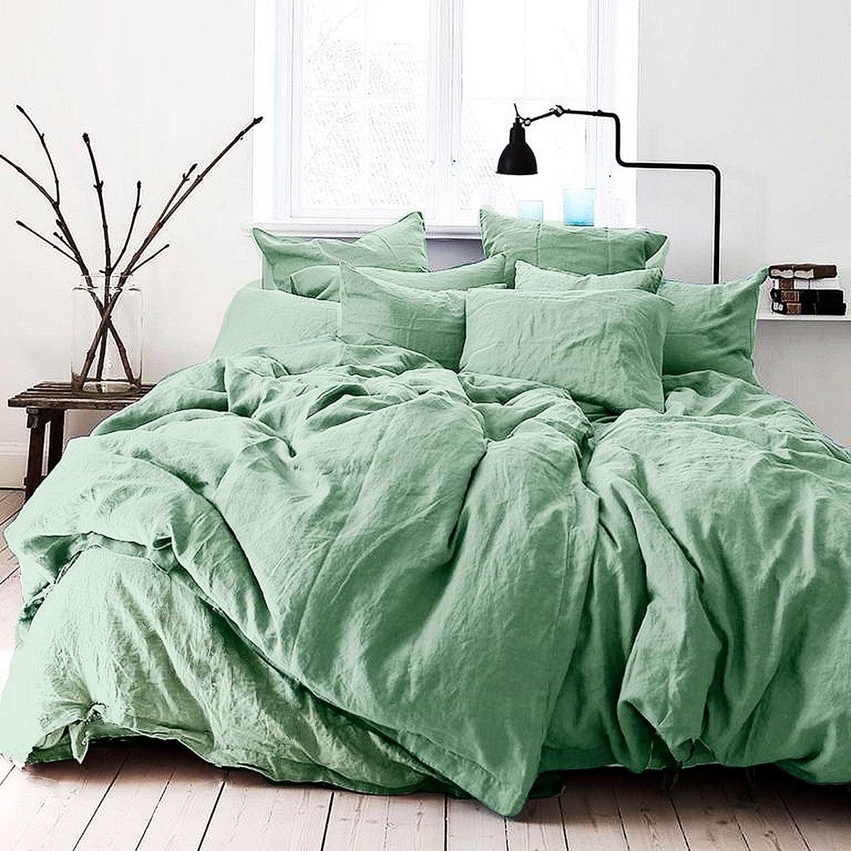 """Комплект постельного белья Seta """"Лен"""" De Lux Smoke Green, 01783501, зеленый, 2 спальный"""