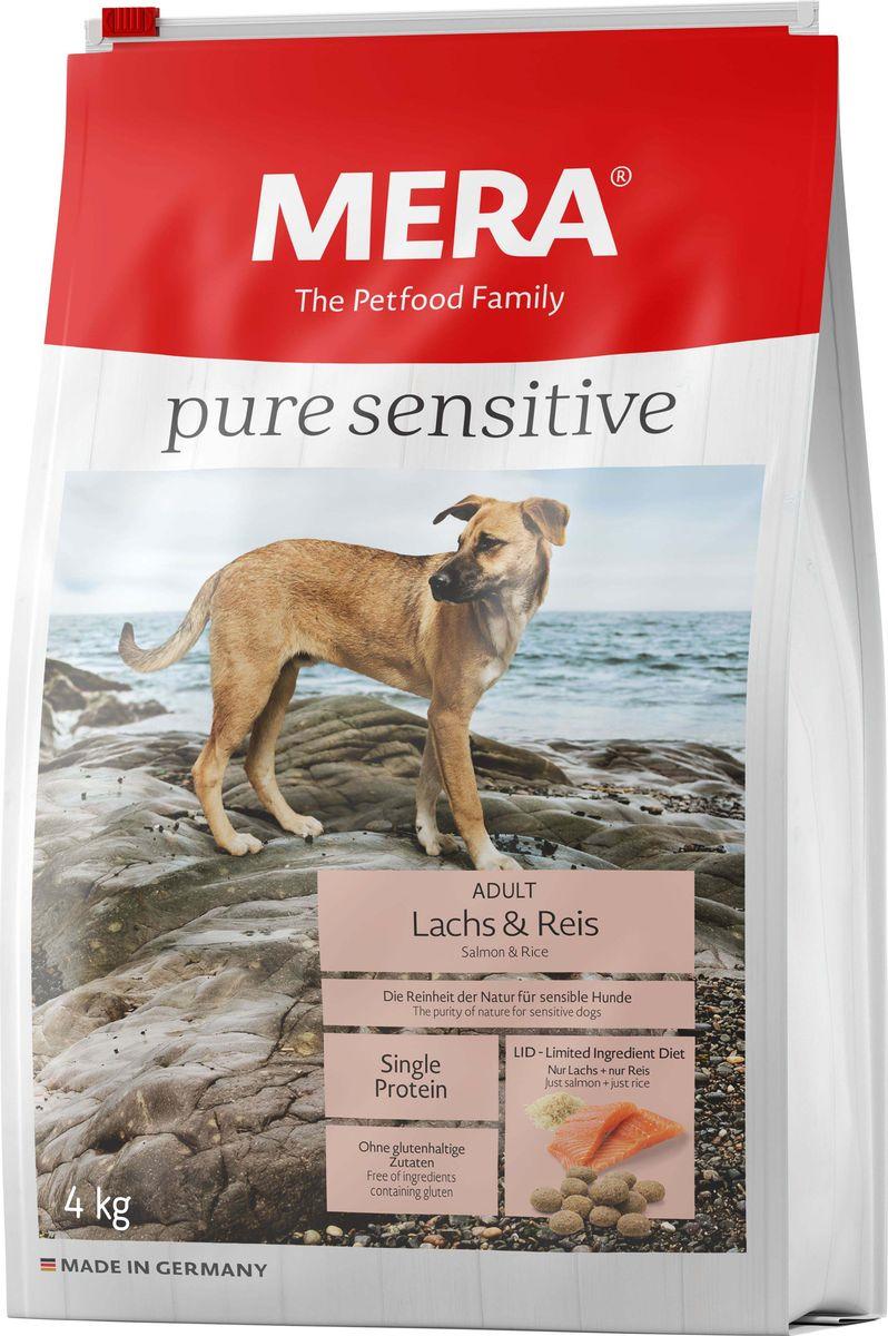 Сухой корм для собак Mera Pure Sensitive Adult, лосось и рис, 4 кг mera сухой корм mera pure sensitive adult truthahn