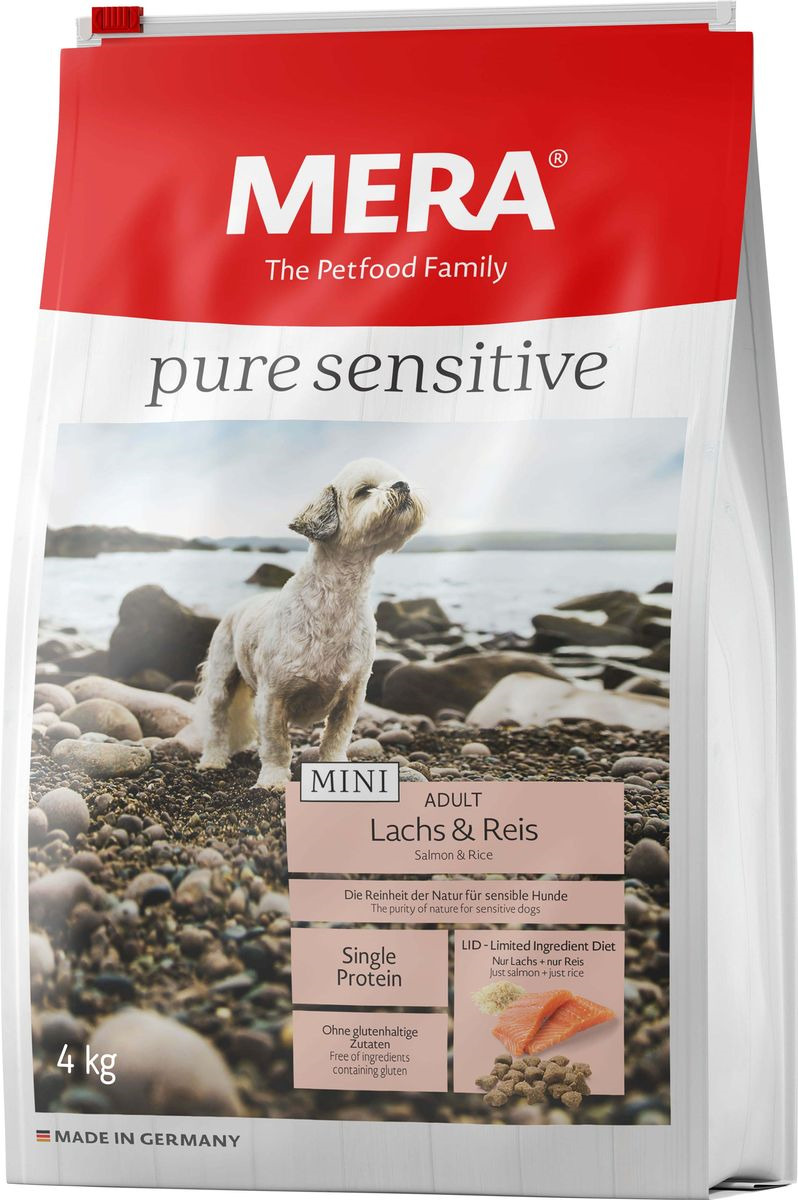 Сухой корм Mera Pure Sensitive Mini Adult, для собак малых пород, лосось и рис, 4 кг