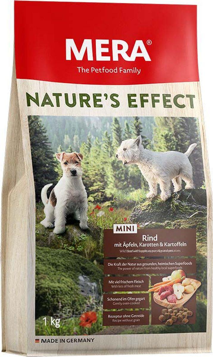 Сухой корм Mera Nature'S Effect Mini, для собак малых пород, говядина с яблоками, морковью и картофелем, 1 кг