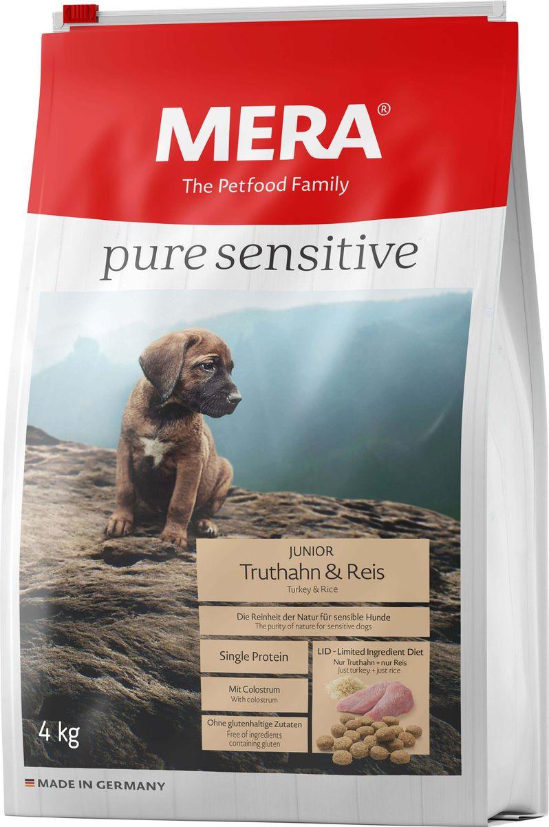 Сухой корм Mera Pure Sensitive Junior, для щенков, мясо индейки и рис, 4 кг mera сухой корм mera pure sensitive adult truthahn