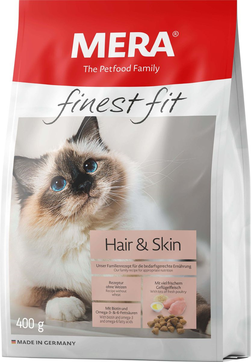 Сухой корм для кошек Mera Finest Fit Hair & Skin, для кожи и шерсти, 400 г