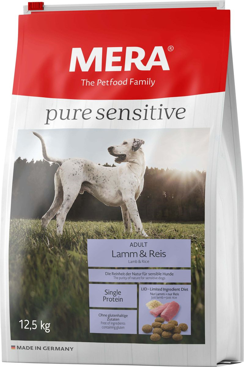Сухой корм для собак Mera Pure Sensitive Adult, ягненок и рис, 12,5 кг mera сухой корм mera pure sensitive adult truthahn