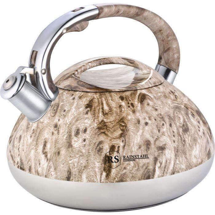 Чайник металлический Rainstahl со свистком, 7636-30RS\WK, светло-коричневый, 3,0 л чайник rainstahl со свистком цвет белый 3 л 7540 30rs wk