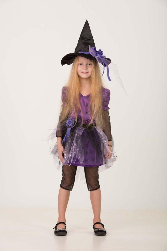 Карнавальный костюм Батик Ведьмочка 1, цвет: черный. Размер: 288075-28Этот детский карнавальный костюм подойдет девочке, которая верит в сказки и не боится волшебства.