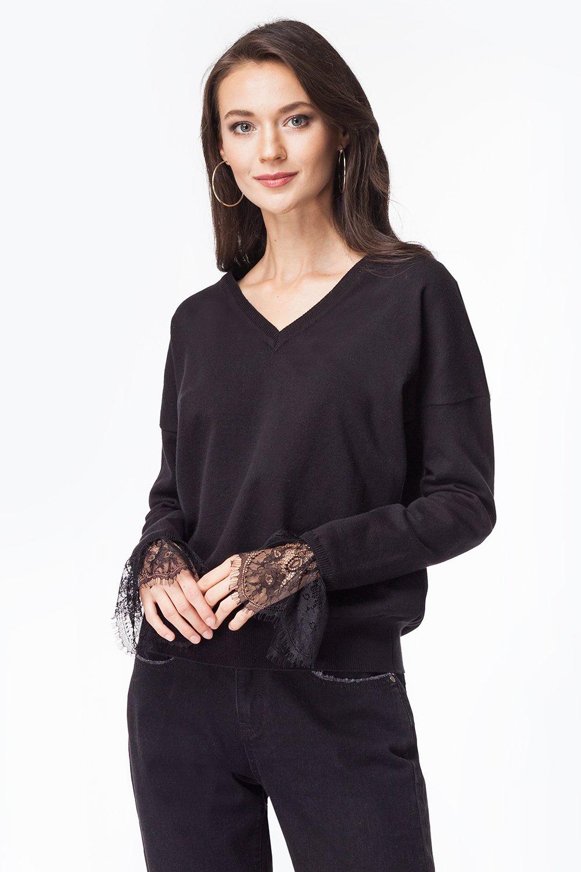 Джемпер Vilatte свободная блузка с v образным вырезом vilatte