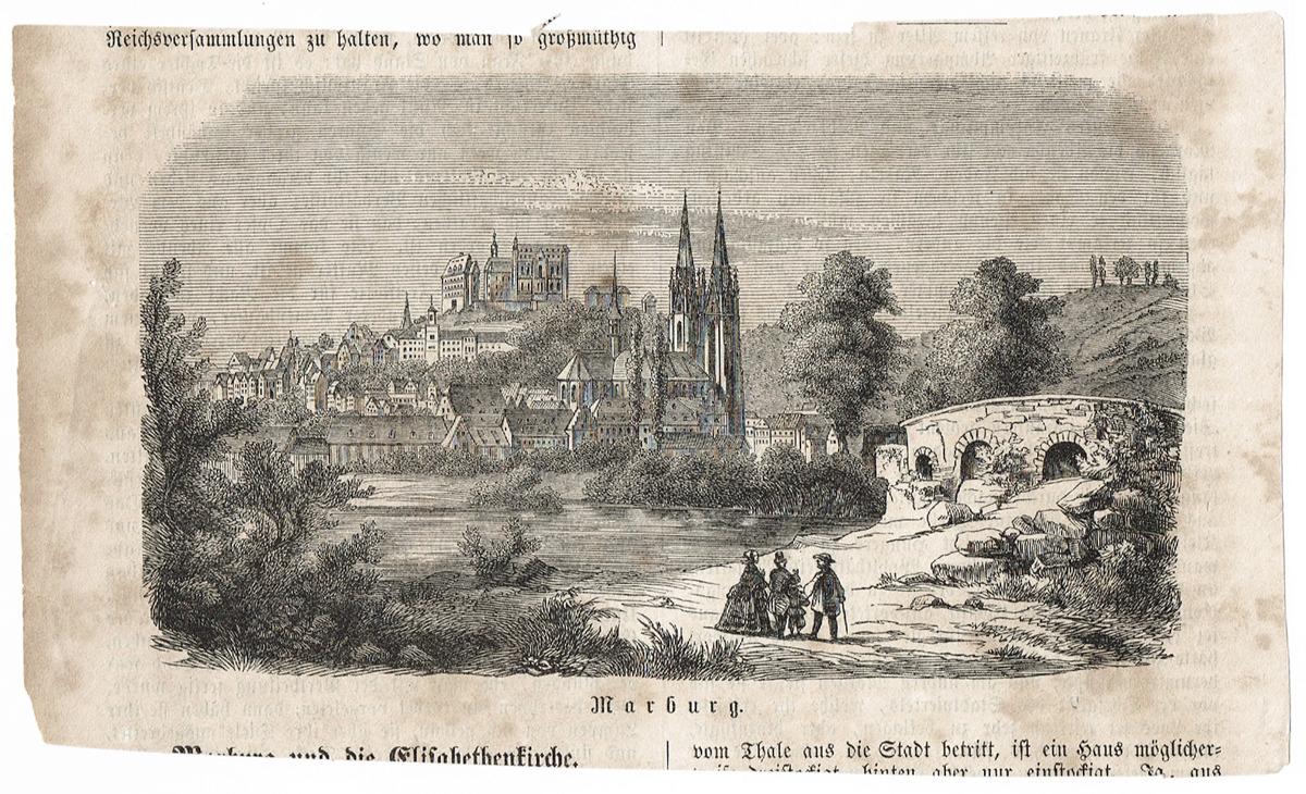 Марбург (Marburg). Гравюра. Германия, 19 век marburg homestory 54609