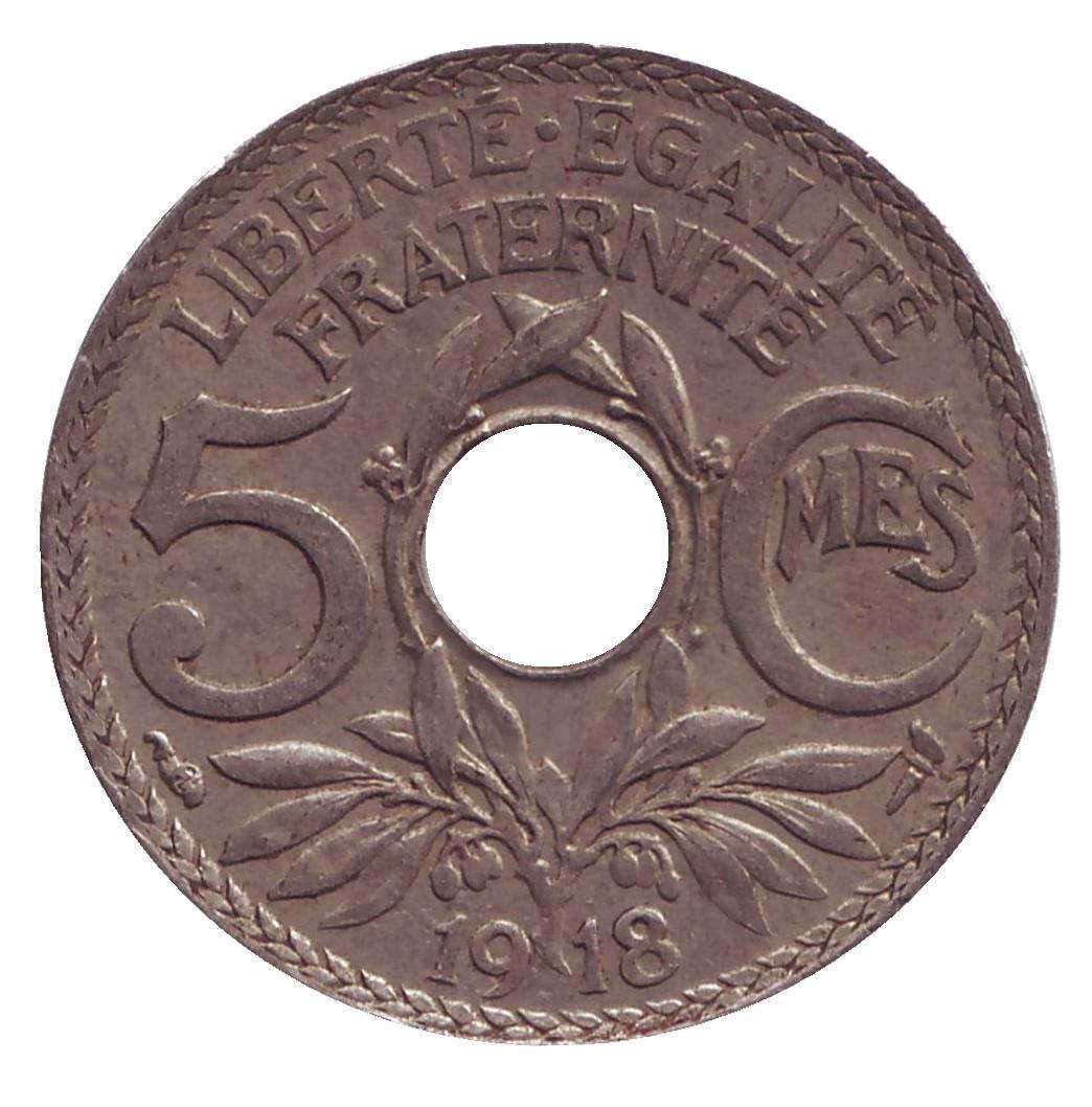 Монета номиналом 5 сантимов. Франция, 1918 год80002139Примерное состояние монеты указано на скане.