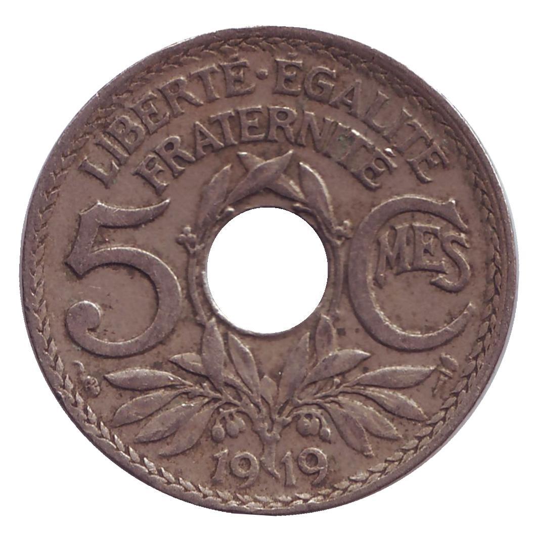 Монета номиналом 5 сантимов. Франция, 1919 год80002140Примерное состояние монеты указано на скане.