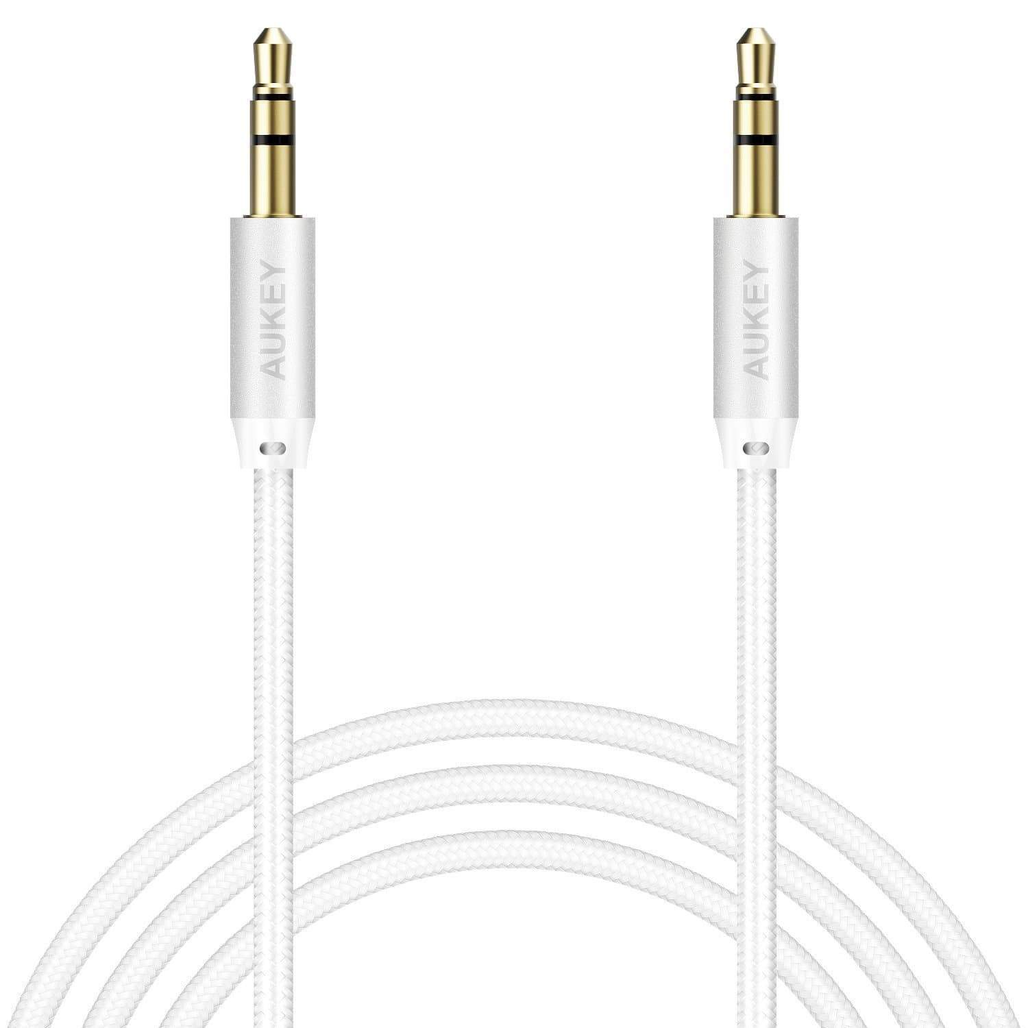 Кабель Aukey Braided Audio Cable, CB-V12, белый, 120 см