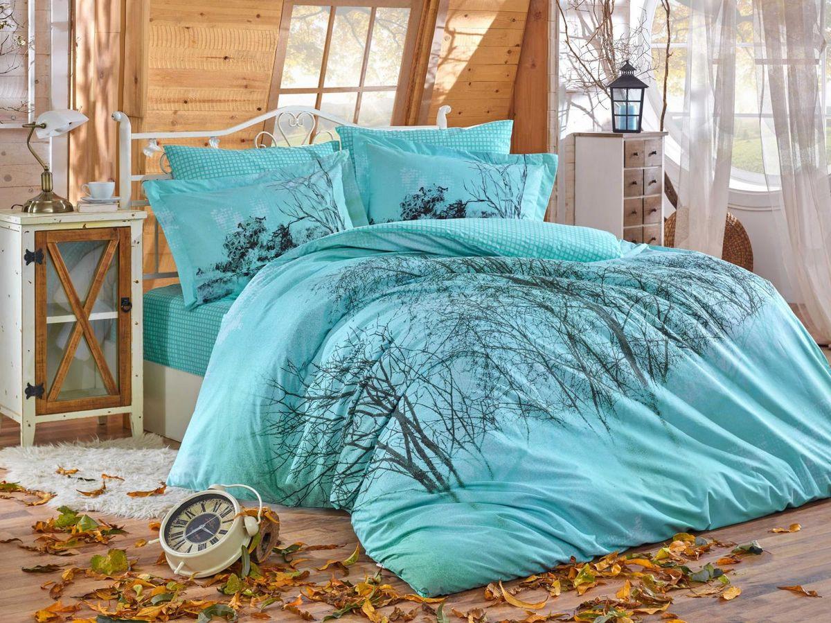 Комплект постельного белья Hobby Home Collection Margherita, 1,5 спальный, наволочки 50x70, цвет: бирюзовый. 1501002134