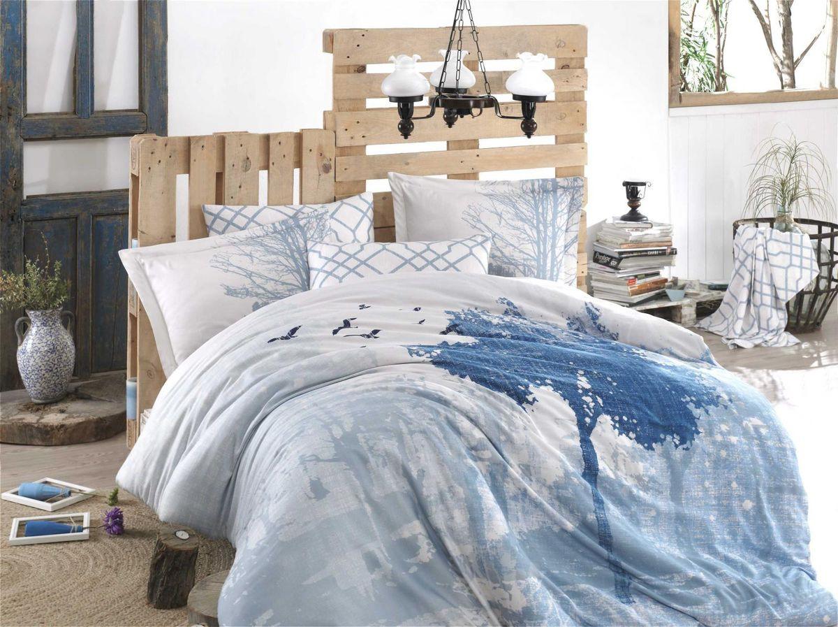 Комплект постельного белья Hobby Home Collection Alandra, 1,5 спальный, наволочки 50x70, цвет: голубой. 1501002139