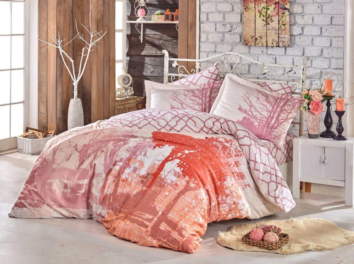Комплект постельного белья Hobby Home Collection Alandra, 1,5 спальный, наволочки 50x70, цвет: розовый. 1501002145