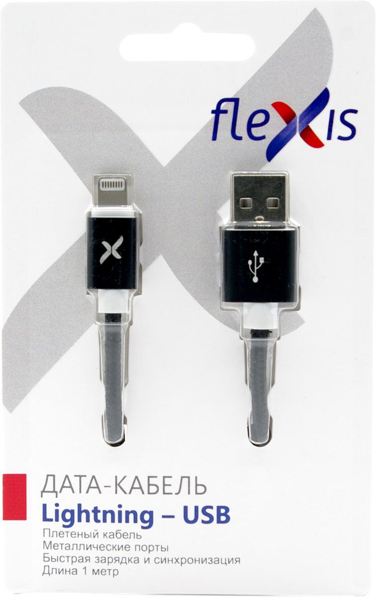 Кабель Flexis Braided для iPod/iPhone/iPad, FX-CAB-BD8p-BL, черный кабель flexis braided fx cab bdmu sv серебристый