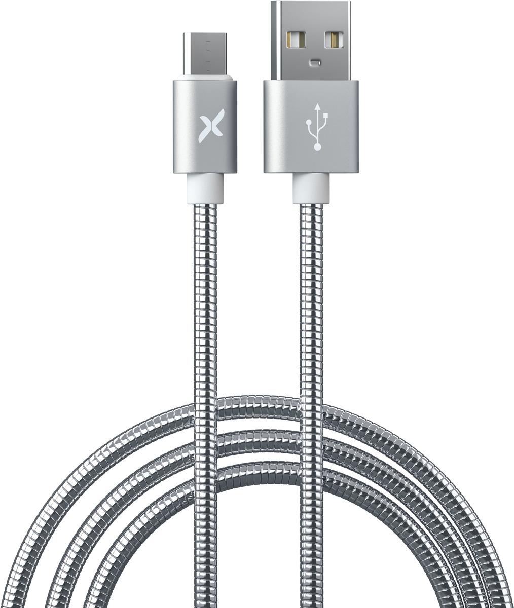Фото - Кабель Flexis Metal, USB-MicroUSB, 1 м, серебристый азу для планшетов и ноутбуков