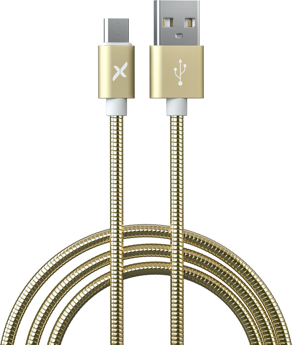 Кабель Flexis Metal, FX-CAB-MTMU-GD, золотой кабель flexis braided fx cab bdmu sv серебристый